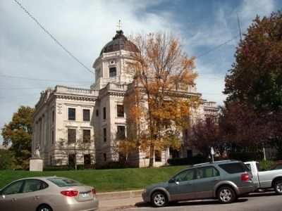 South/West Corner - - Monroe County Courthouse - -<br> Bloomington, Indiana image. Click for full size.