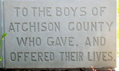 Atchison County War Memorial Cornerstone image. Click for full size.