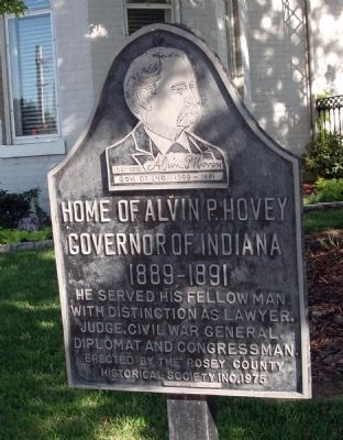 Home of Alvin P. Hovey Marker image. Click for full size.