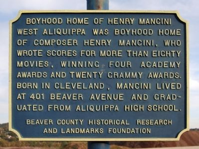 Boyhood Home of Henry Mancini Marker image. Click for full size.