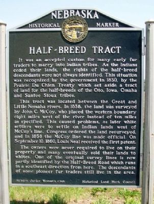 Half-Breed Tract Marker image. Click for full size.