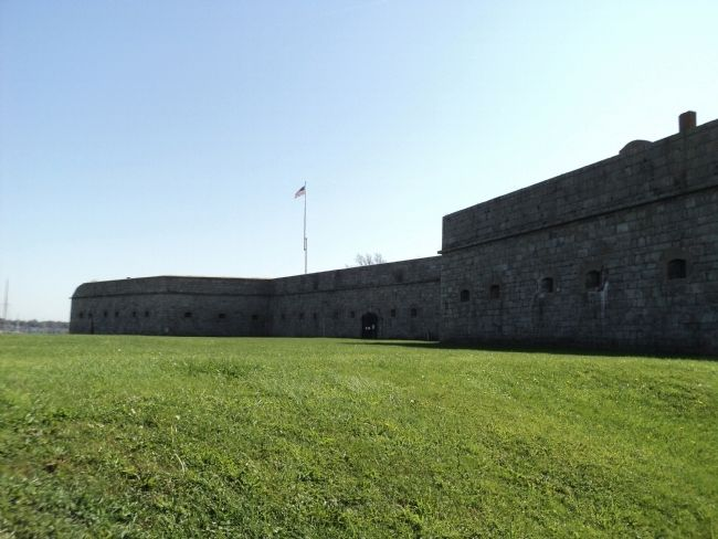 West Wall Seen from Outside Fort Adams image. Click for full size.