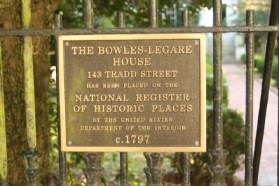 The Bowles - Legare House Marker image. Click for full size.