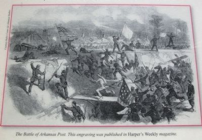 Engraving of the Battle of Arkansas Post from Harper's Weekly image. Click for full size.