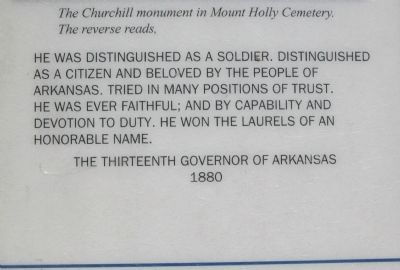 The Inscription on General Churchill's Memorial (Reverse Side) image. Click for full size.