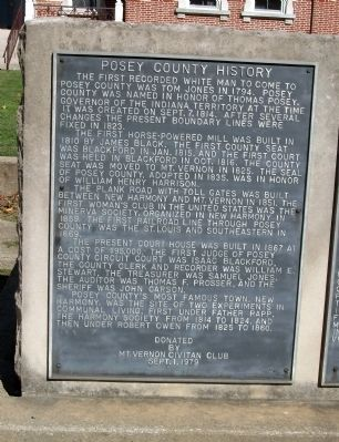 Posey County History Plaque image. Click for full size.
