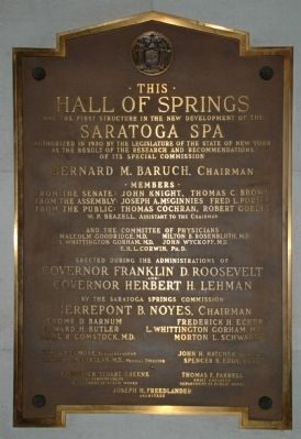 Hall of Springs Plaque image. Click for full size.