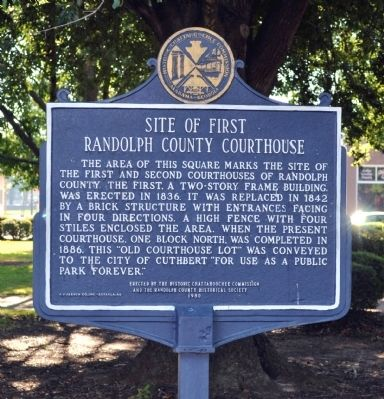 Site of First Randolph County Courthouse Marker image. Click for full size.