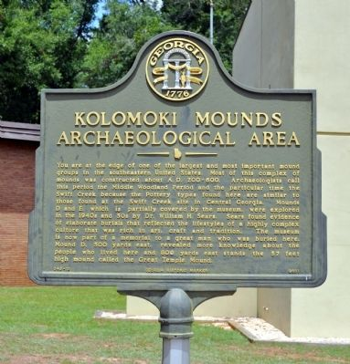 Kolomoki Mounds Archaeological Area Marker image. Click for full size.