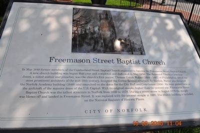 Freemason Street Baptist Church Marker image. Click for full size.