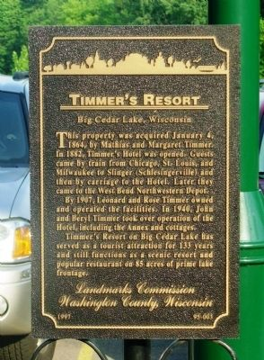 Timmer's Resort Marker image. Click for full size.