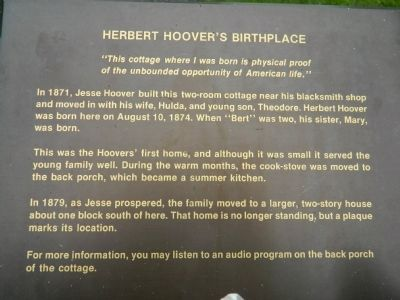 Herbert Hoover's Birthplace Marker image. Click for full size.