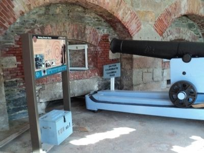 Marker and Cannon in Fort Adams Casemate image. Click for full size.