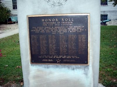 Lawrence County World War II Honor Roll Marker image. Click for full size.
