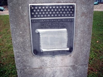Front Plaque - - The Cornerstone of Freedom Marker image. Click for full size.