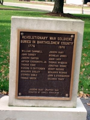 Bartholomew County Revolutionary War Honor Roll Marker image. Click for full size.