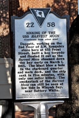 Sinking Of The USS Harvest Moon Marker (reverse) image. Click for full size.