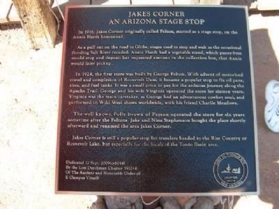 Jakes Corner - An Arizona Stage Stop Marker image. Click for full size.
