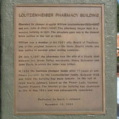 Loutzenheiser Pharmacy Building Marker image. Click for full size.