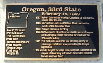Oregon, 33rd State Marker image. Click for full size.