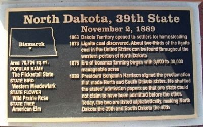 North Dakota, 39th State Marker image. Click for full size.