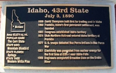 Idaho, 43rd State Marker image. Click for full size.