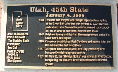Utah, 45th State Marker image. Click for full size.