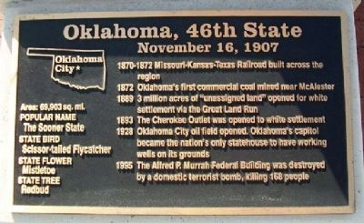 Oklahoma, 46th State Marker image. Click for full size.