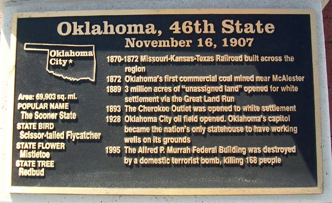 Oklahoma, 46th State Marker