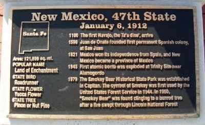 New Mexico, 47th State Marker image. Click for full size.