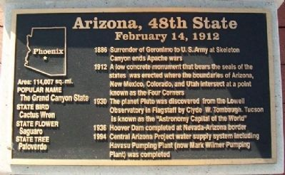 Arizona, 48th State Marker image. Click for full size.