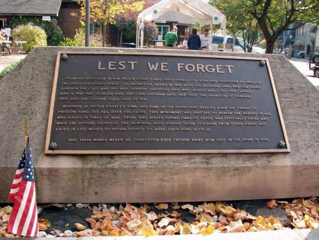 West Plaque - - Brown County Veterans Memorial Marker image. Click for full size.