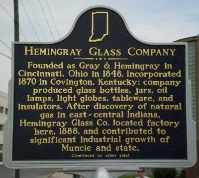 Hemingray Glass Company Marker - Side A image. Click for full size.