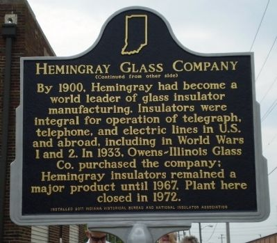Hemingray Glass Company Marker - Side B image. Click for full size.
