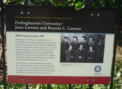Frelinghuysen University/Jesse Lawson and Rosetta C. Lawson Marker image. Click for full size.