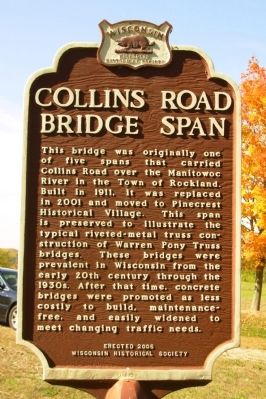 Collins Road Bridge Span Marker image. Click for full size.