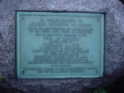 In Commemoration of Arnold's Expedition to Quebec Marker image. Click for full size.
