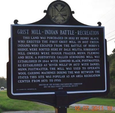 Grist Mill - Indian Battle - Recreation Side of Marker image. Click for full size.