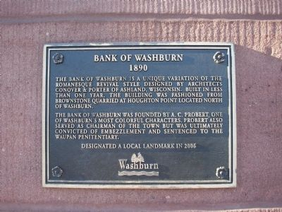 Bank of Washburn Marker image. Click for full size.