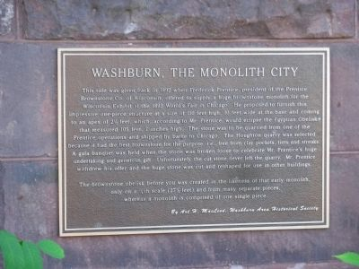 Washburn, The Monolith City Marker image. Click for full size.