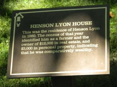 Henson Lyon House Marker image. Click for full size.