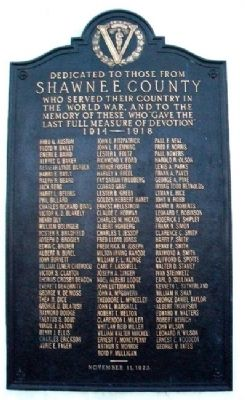 Shawnee County World War Memorial Marker image. Click for full size.