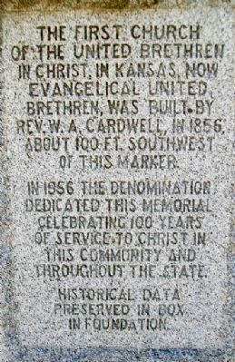 First UBC Church in Kansas Marker (back) image. Click for full size.