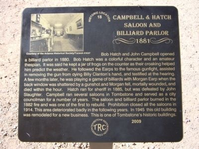 Campbell & Hatch Saloon and Billiard Parlor Marker image. Click for full size.