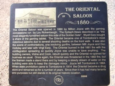 The Oriental Saloon Marker image. Click for full size.