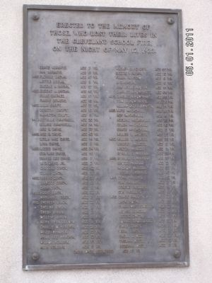 The Cleveland School Fire Marker image. Click for full size.