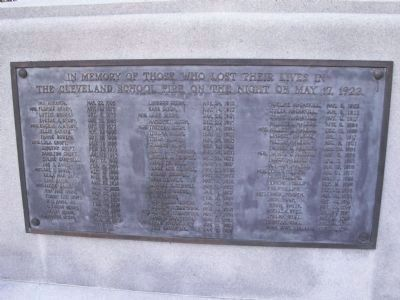 The Cleveland School Fire Mass Grave Marker image. Click for full size.