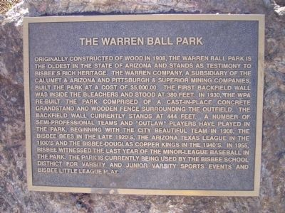 The Warren Ball Park Marker image. Click for full size.