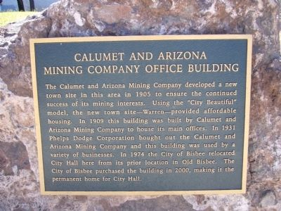 Calumet and Arizona Mining Company Office Building Marker image. Click for full size.
