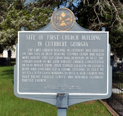 Site of First Church Building in Cuthbert, Georgia Marker image. Click for full size.